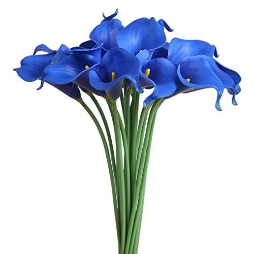 Wuudi 20pcs Calla Lily Bridal Wedding Bouquet head Latex Real Touch Flower Bouquets( Blue)