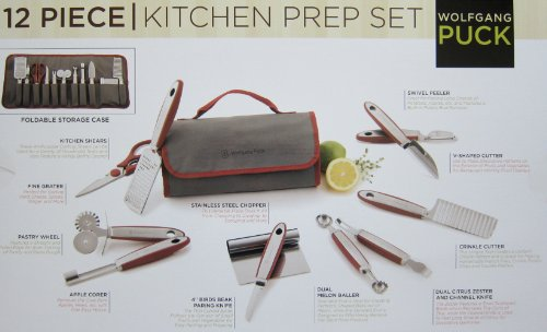 Wolfgan Puck 12 Piece Stainless Steel Kitchen Prep and Garnishing Set with Flodable Cloth Case (Red) (Wolfgang Puck Chef Knife compare prices)