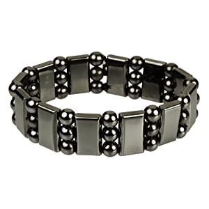 Wide Hematite Magnetic Stretch Bracelet (17mm)