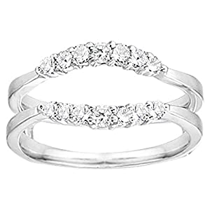0.35CT Diamonds Curved Wedding Ring Guard Enhancer set in Sterling Silver (0.35CT TWT Diamonds G-H I1-I2)