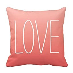 Speak Out Love to Your Lover on Coral Pink Pillow Decorative Pillowcase Throw Pillow Cushion Cover Flower Pattern Design Cushion Cover Pillow Case Collection (18¡Á18, White)