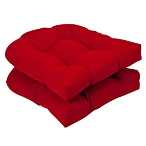 Pillow Perfect Outdoor Red Solid Wicker Seat Cushions 2-pack from Pillow Perfect