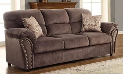 Sofa w/ 2 Pillows in Chocolate Microfiber By Homelegance