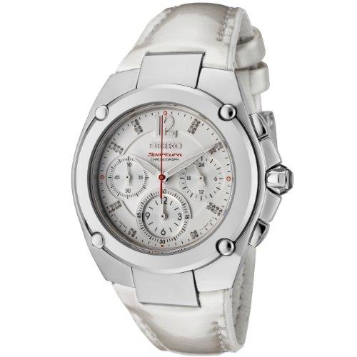 Seiko Women'S Srw897 Sportura Chronograph Diamond Accented White Dial White Leather Watch