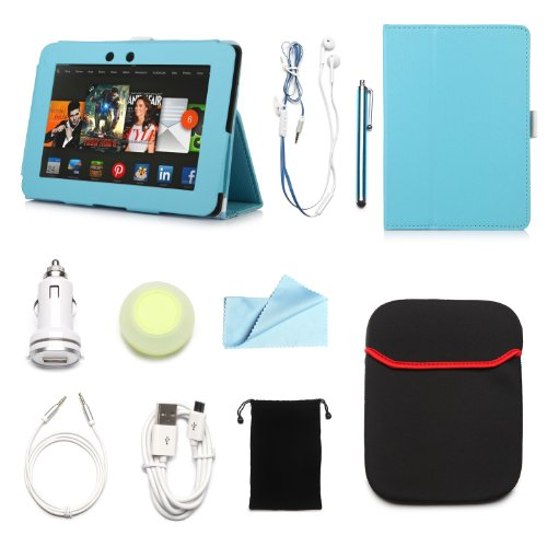 """Arion Kindle 10-Item Accessory Bundle Kit For Amazon Kindle Fire Hd 7"""" Tablet - Folio Stand Pu Leather Case, Cleaning Cloth, Stylus Pen,Car Charger,Usb Cable, Aux Cable, Earphone, Wire-Holding Box, Sleeve Case, Drawstring Travel Pouch (Light Blue, Leather"""