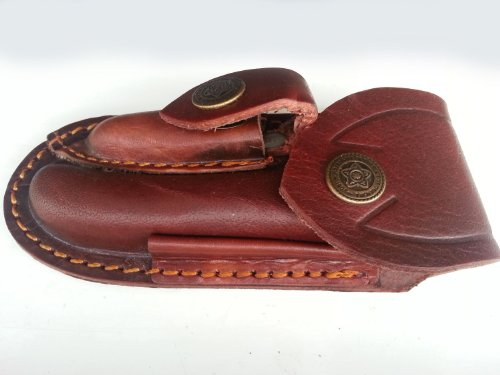 "Genuine Leather Folding Knife Sheath With Belt Loop. Bushcraft|Hunting (Medium: 4"")"