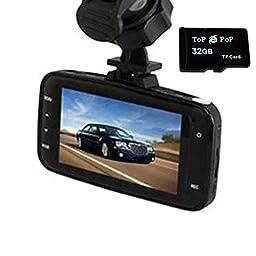Topepop 1080P HD Car DVR Dash Cam Digital Video Recorder Car Camera Camcorder Night Vision with Class 10 32GB TF Mirco SD Card