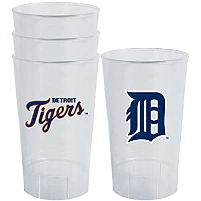 MLB Detroit Tigers Plastic Tumbler (Pack of 4), 16 oz., White