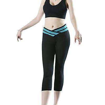 Awtang Womens Fitness Capri Tights Exercise Running Yoga Jogging Pants Leggings