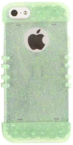 Cell Armor Rocker Silicone Skin Case for iPhone 5 - Retail Packaging - Rainbow Glitter Light Green cell