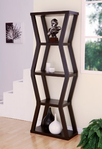 Furniture of America Mint 4-Shelf Zig-Zag Design Display Stand/Bookcase, Cappuccino