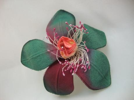 NEW Hunter Green and Burgundy Flower Hair Clip, Limited.