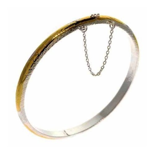 Vermeil (24k Gold over Sterling Silver) and Silver Two Tone Aztec Leaf Design Bangle