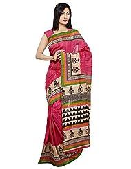 Rani Saahiba Pink Traditional Warli Art Bhagalpuri Silk Saree