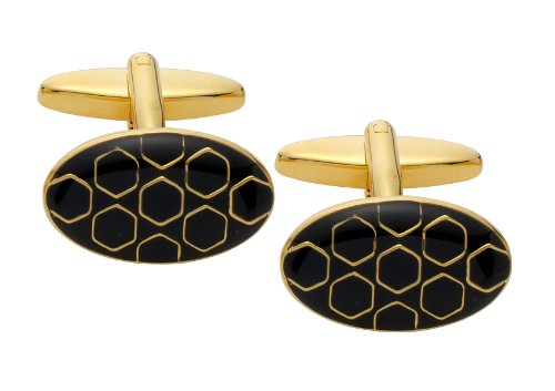 Code Red Gold Plated Oval Cufflinks with Black Enamel and Hexagon Shapes