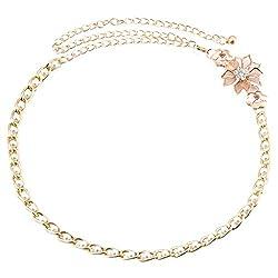 Women Flower Rhinestone Waist Chain Belt Diamante Hip Belt Olivet Waistband