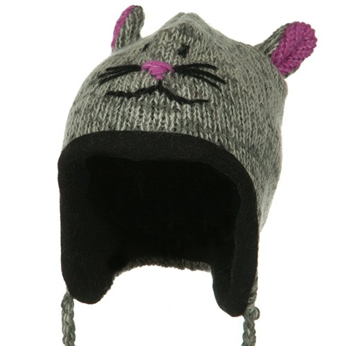 Adult Animal Wool Ski Beanie - Grey Pink Mouse