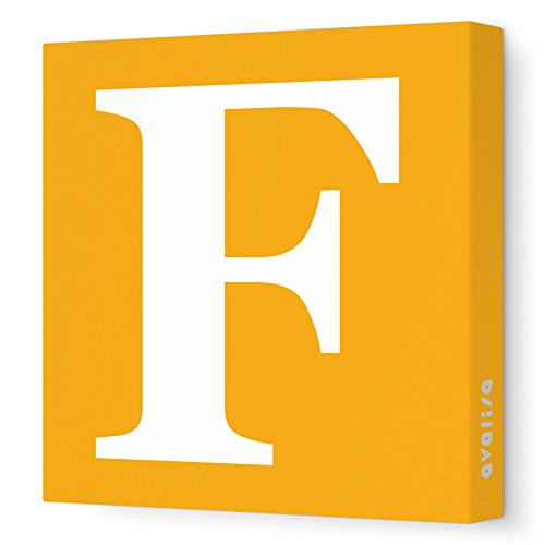 "Avalisa Stretched Canvas Upper Letter F Nursery Wall Art, Orange, 12"" x 12"""