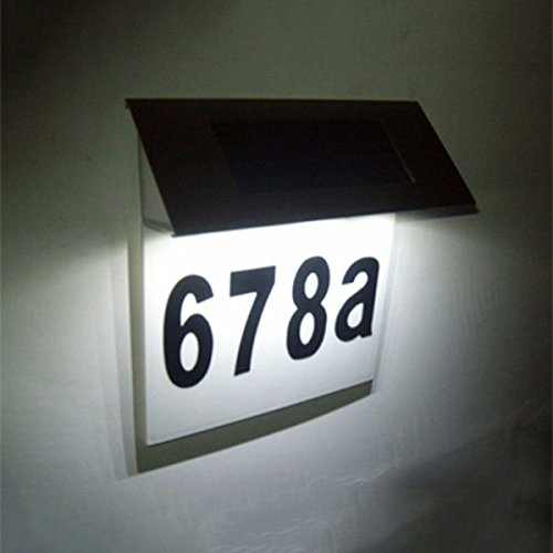 [Modern Solar Powered LED House Number Wall Light Garden Lamp Stainless Steel] (House With Dancing Halloween Lights)