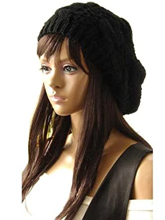 a09f5272592cc New Winter fashion Women Beret Braided Baggy Beanie Crochet Knitted Hat Cap