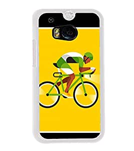 Cyclist 2D Hard Polycarbonate Designer Back Case Cover for HTC One M8 :: HTC M8 :: HTC One M8 Eye :: HTC One M8 Dual Sim :: HTC One M8s