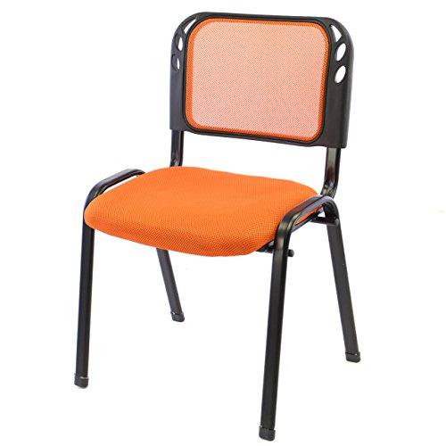 Brostuhl-Konferenzstuhl-Besucherstuhl-orange-gepolsterte-Sitzflche-stapelbar-525-x-45-x-80-cm-Stapelstuhl-Metallrahmen-schwarz