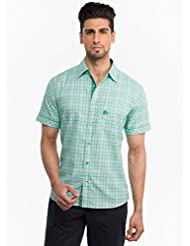 Stylish Green And Marron Checkered Casual Shirt With Pocket And Sleeve Detailing