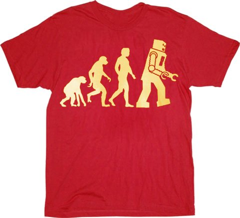 The Big Bang Theory Robot Evolution Red T-shirt Tee ()