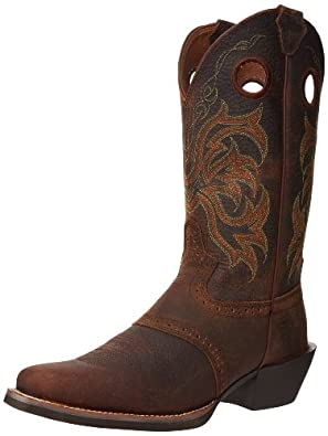 "Justin Boots Men's Stampede Collection 12"" Punchy Boot Wide Square Single Stitch Toe,Dark Brown Rawhide,7 D US"