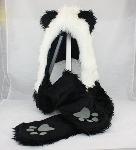 Best Prices! Panda Animal Hood Faux Fur Hat with Warm Scarf Mittens Ears and Paws Spirit