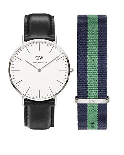 Daniel Wellington 0206DW-0405SET - Reloj de cuarzo para hombre, correa de cuero color negro
