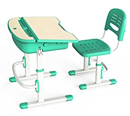 Wymo Childrens Height Adjustable Ergonomic Kids Desk & Chair Green