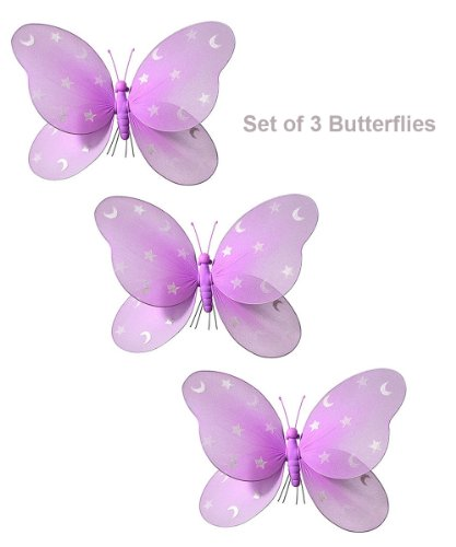 "14"" X 8"" Pink Hanging Butterfly Decorations For Butterfly Party Decorations Butterfly Nursery Baby Room And Girls Room Décor"