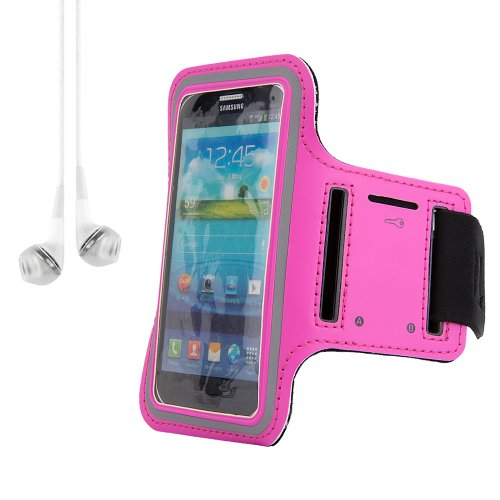 Running Sport Cycling Armband Case Pouch For Samsung Galaxy Series Smartphones S5 And S4 (Rose) + White Earphones