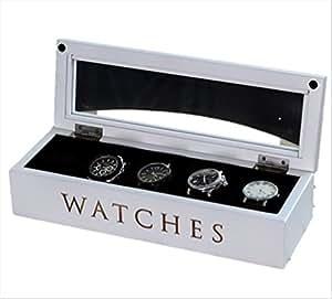 オシャレ 英字ロゴ入り 木製 腕時計ケース ウォッチBOX 5本収納 ホワイト 見せる収納