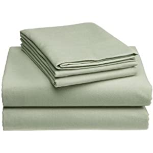 MARRIKAS HEAVYWEIGHT 6 OZ. GERMAN FLANNEL SHEET SET QUEEN SAGE