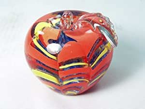 Murano Design Glass Art Blue Crystal Apple Paperweight
