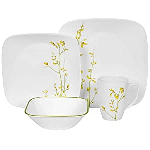 dinner set service for 4 yellow green kitchen home
