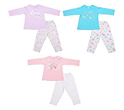 Zero Girls' Clothing Set - 3 Vests and 3 Pants (421_5_3-6 Months, Multi-Coloured, 3-6 Months)