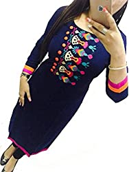 Selfie style Trendy Navy Blue color Georgette Embroidery semi stitched kurti