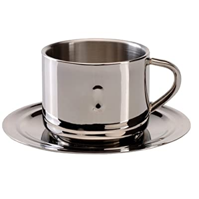 BergHOFF Stainless Steel Coffee Cup with Saucer