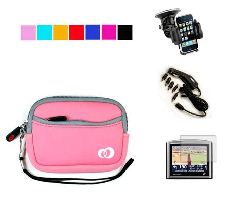 Durable Carry Case for Garmin Nuvi 260W 255W 265W 205W 1690 Garmin 4.3 inch GPS + Screen Protector + Car Charger + Car Mount (Baby Pink)