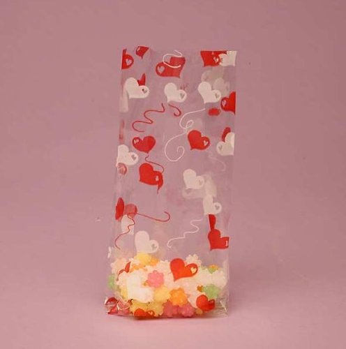 Red and White Heart Strings Cello Party Bags - 20/Pack