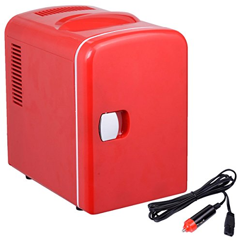 Portable Mini Fridge Cooler and Warmer Auto Car Boat Home Office AC & DC Red