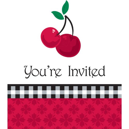 Creative Converting Cherry Gingham Party Invitations, 8 Count