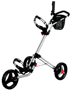 CaddyTek Deluxe Quad Fold Golf Push Cart, Silver
