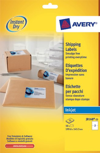 Avery j8168 25 parcel labels for inkjet printers 199 6 for Avery 8168 template