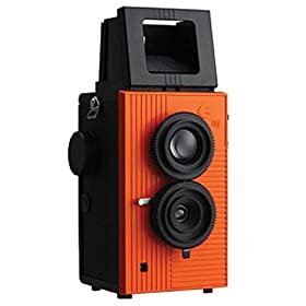 Blackbird Fly 35mm TLR Twin Lens Reflex Camera - Black with Orange Face