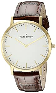 Claude Bernard Men's 20202 37J AID Gents Slim Line Analog Display Swiss Quartz Brown Watch