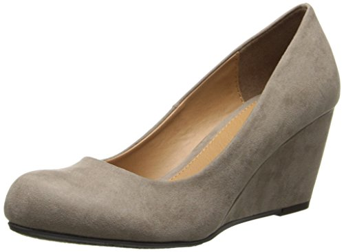 CL by Chinese Laundry Women's Nima Super Suede Wedge Pump, Dark Taupe, 6 M US